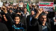 Lautstark bekunden Demonstranten ihre Unterstützung des Regimes bei einer Demonstration in Teheran.