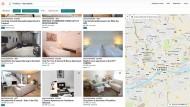 Angebote auf der Internetseite von Airbnb für Frankfurt.