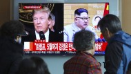 Ein südkoreanischer Sender berichtet über Trump und Kim.