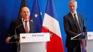 Bundesfinanzminister Olaf Scholz (r.) und der französische Finanzminister Bruno Le Maire