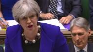 Premierministerin Theresa May wirbt am Mittwoch im Unterhaus für das Brexit-Gesetz.