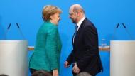 Wer ist hier der Sieger – und wer der Verlierer – der Koalitionsverhandlungen? Angela Merkel, Martin Schulz am Mittwoch in Berlin