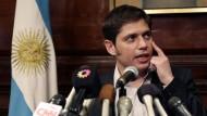 Der argentinische Wirtschaftsminister Axel Kicillof bei einer Pressekonferenz am Mittwoch im Generalkonsulat seines Landes in New York