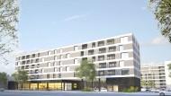 Supermarkt mit 40 Wohnungen: Der geplante Neubau des Discounters an der Mainzer Landstraße