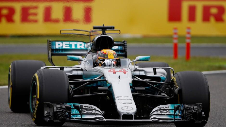 Mercedes-Rennpilot Lewis Hamilton bei Qualifying auf dem Suzuka Circuit in Japan