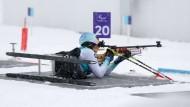 Die deutsche Athletin Anja Wicker liegt am Schießstand im Alpina Biathlon Centre in Pyeongchang
