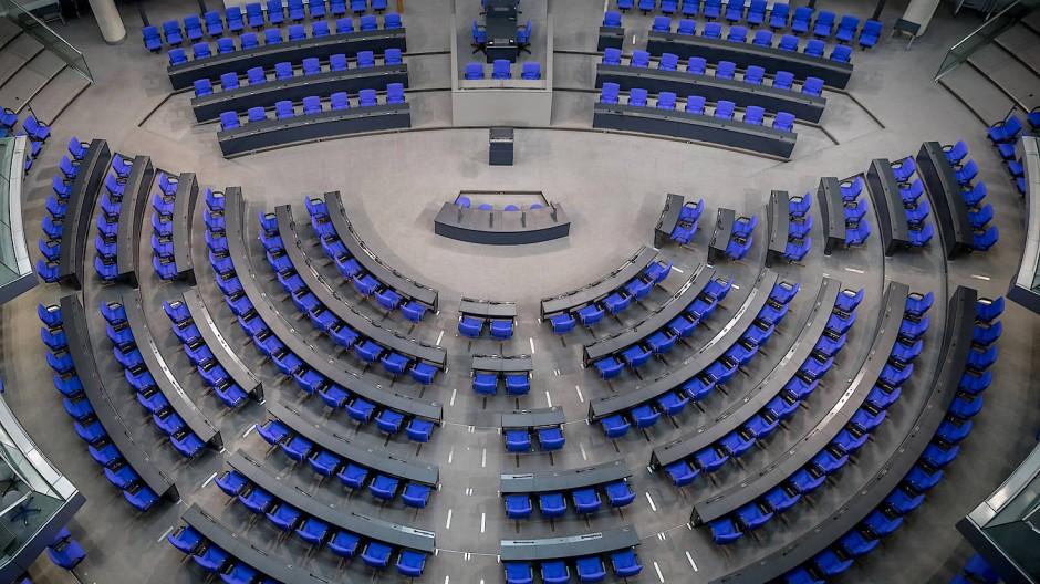 Blick in den Plenarsaal des Deutschen Bundestages