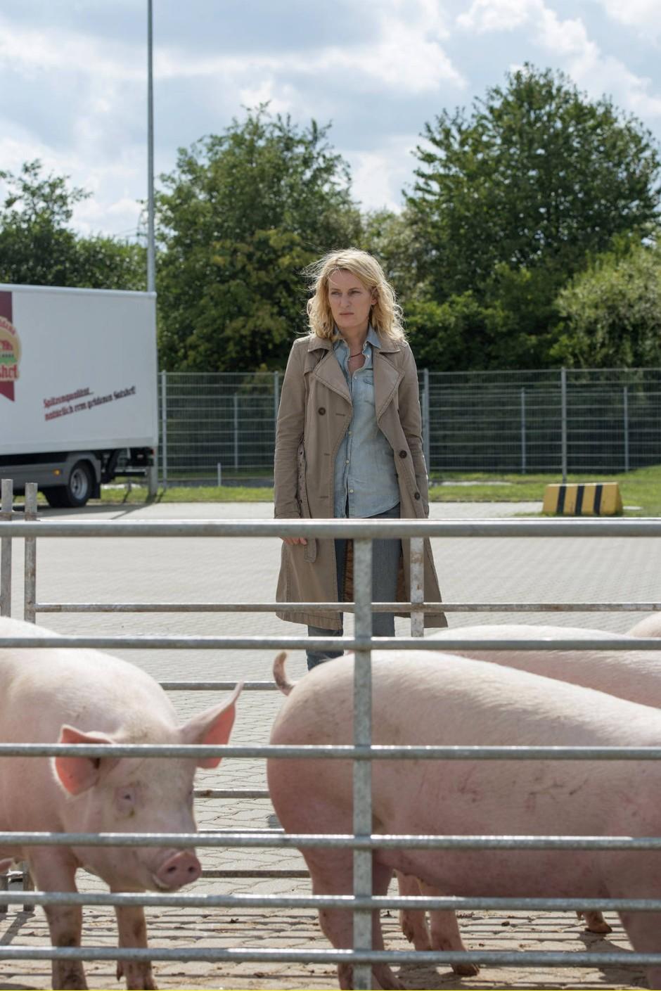 """Schlachtszenen werden in diesem """"Tatort"""" nicht gezeigt, und Kommissarin Lindholm lässt sich in einem unbedachten Moment zu der Aussage verleiten: """"Ich finde Fleisch auch spitze""""."""