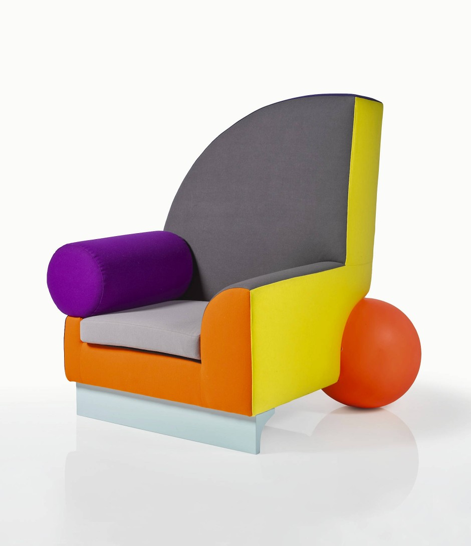 Vorbild: Der Sessel Bel Air von Peter Shire ist eine Ikone des Memphis-Designs aus den Achtzigern.