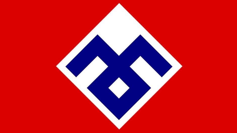"""Flagge der faschistischen Partei """"Rassemblement national populaire"""""""