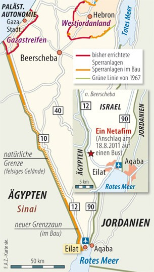 Geplante und bereits errichtete Sperranlagen zwischen Israel, Ägypten und den Autonomiegebieten