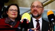 Wollen Überzeugungsarbeit in der eigenen Partei leisten: Andrea Nahles und Martin Schulz
