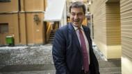 """Hat gut lachen: Markus Söder soll Bayerns neuer Ministerpräsident werden. Mit """"Mut und Demut"""" hatte er den passenden Slogan schon parat."""