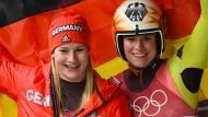 Natalie Geisenberger (rechts) holte Gold, Dajana Eitberger Silber.