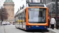 Bald ohne Fahrschein zu benutzen? Straßenbahn in Mannheim