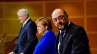 Die Vorsitzenden von Union und SPD stellen ihre Einigung vor.
