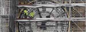Bauarbeiten am Uhrenturm Big Ben in London.