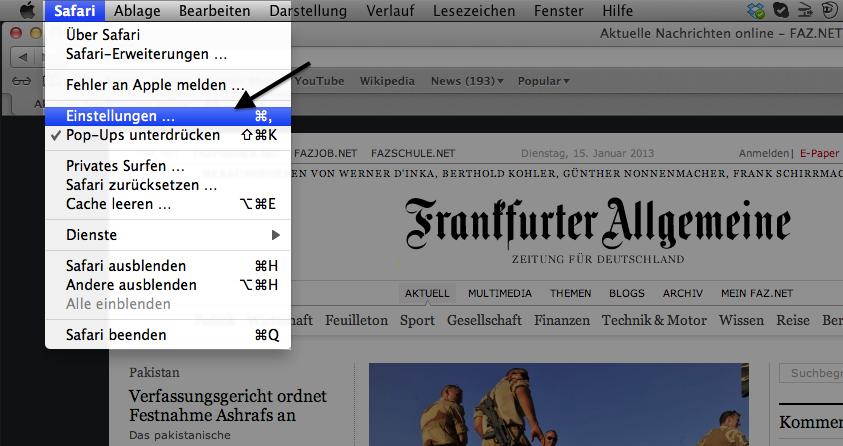 """In der Navigationsleiste unter """"Safari"""" können Sie die Einstellungen für Ihren Browser bearbeiten."""